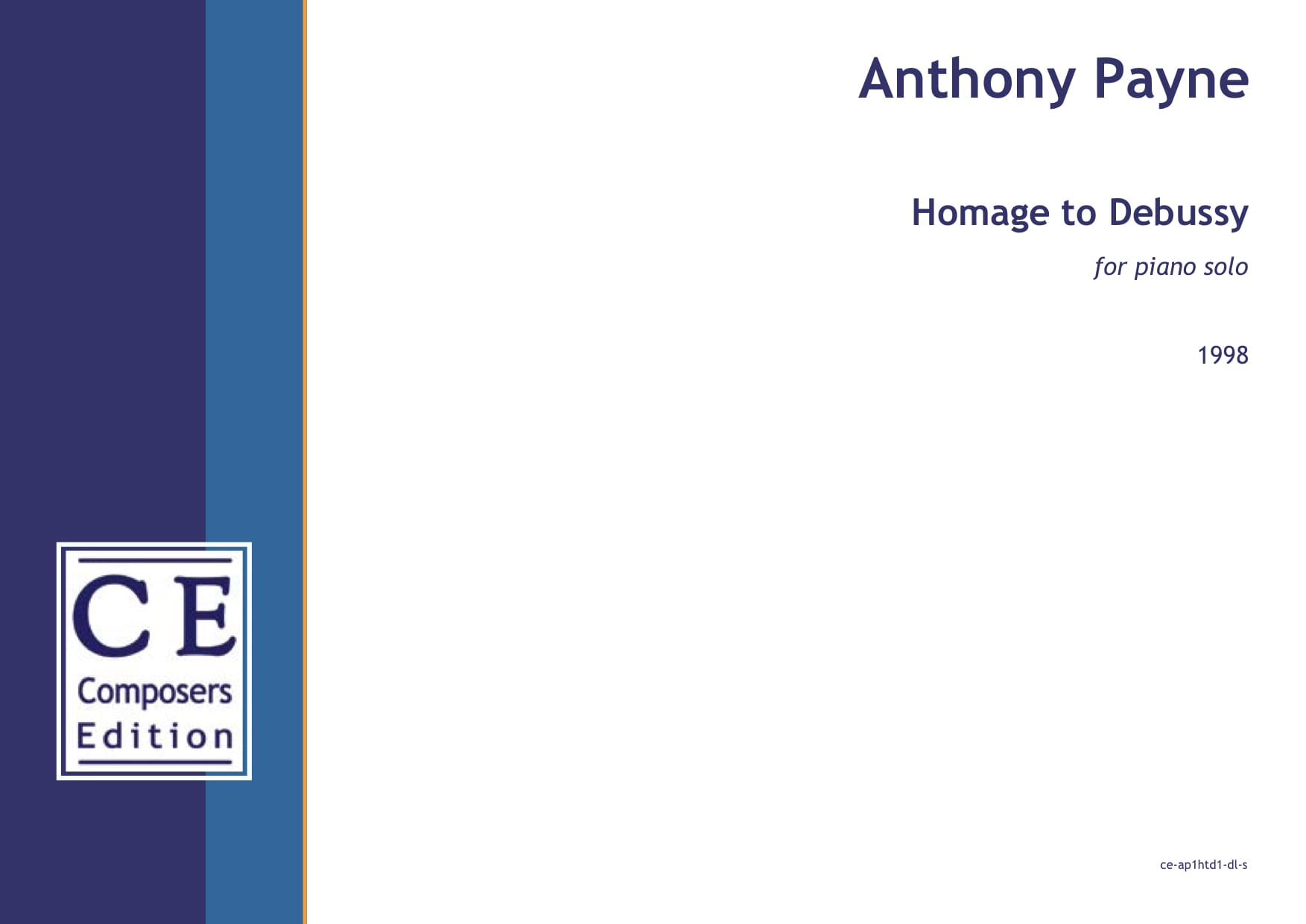 Anthony Payne: Homage to Debussy for piano solo