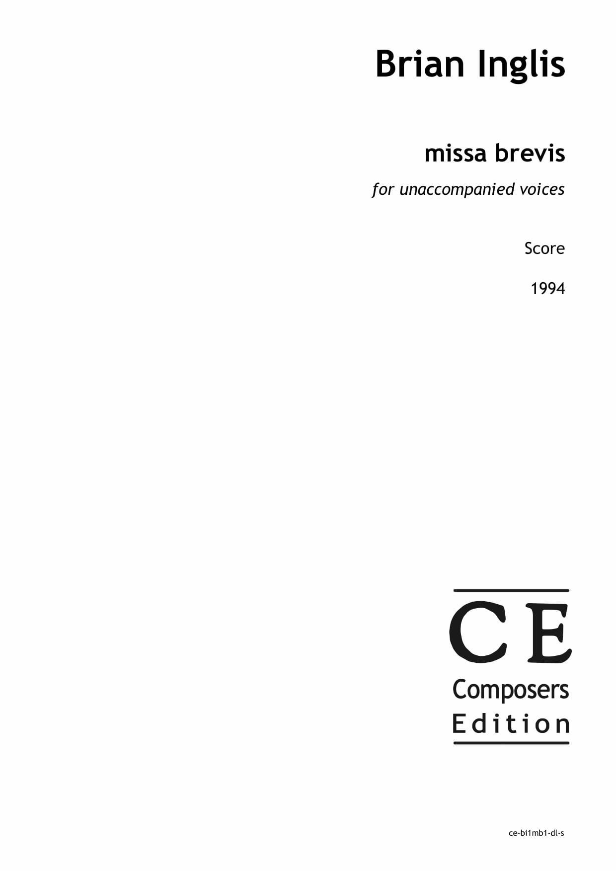 Brian Inglis: missa brevis for unaccompanied voices