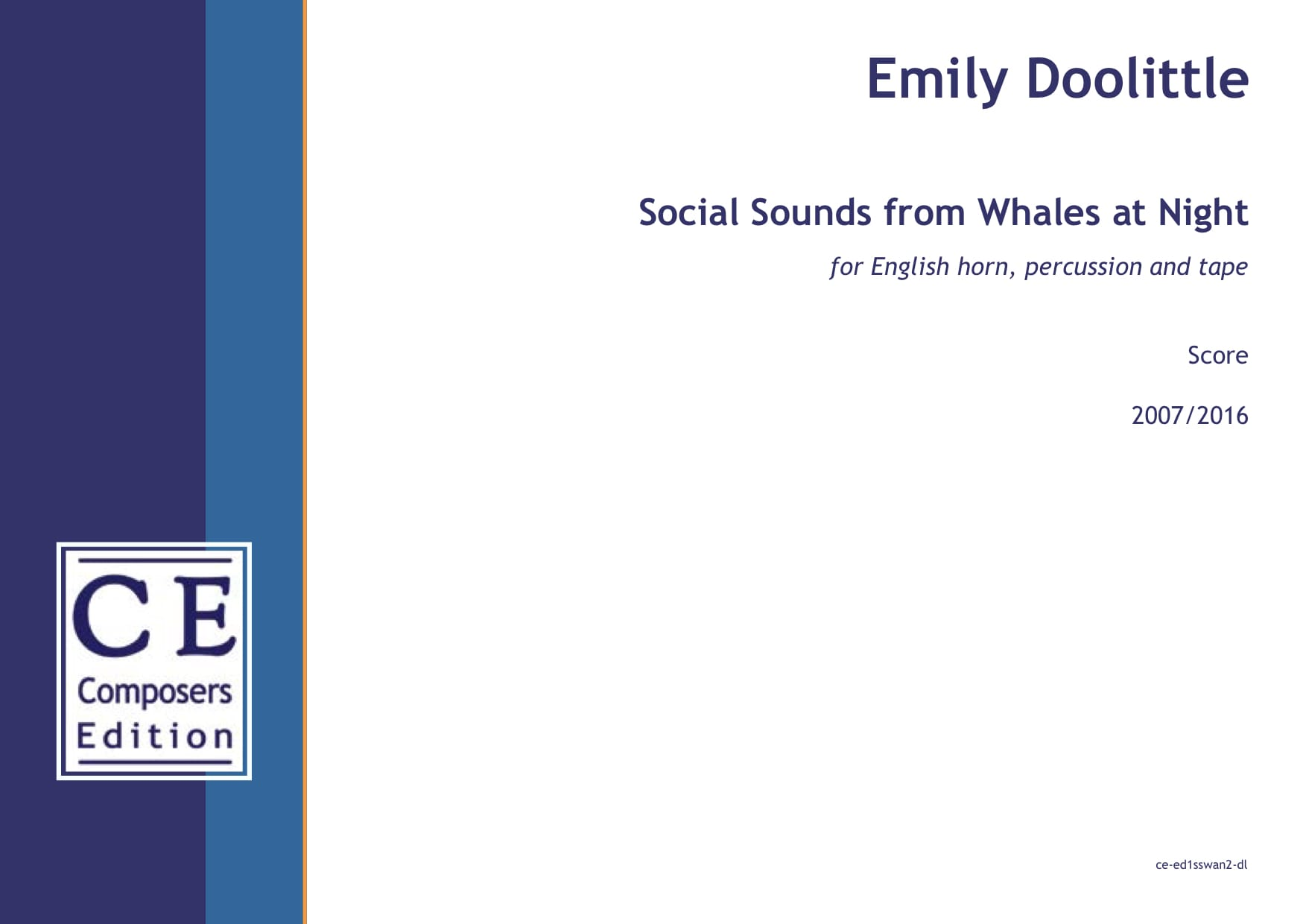 Emily Doolittle: Social Sounds from Whales at Night (English horn version) for English horn, percussion and tape