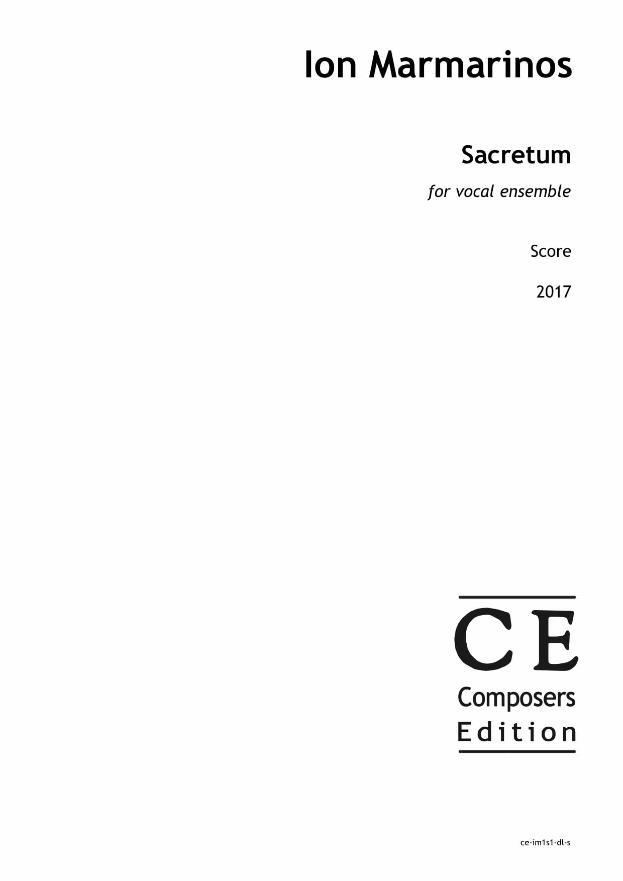 Ion Marmarinos: Sacretum for vocal ensemble
