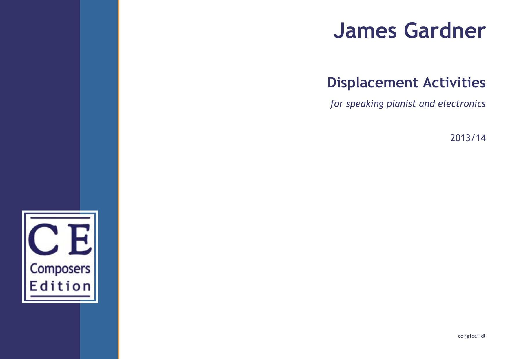 James Gardner: Displacement Activities for speaking pianist and electronics
