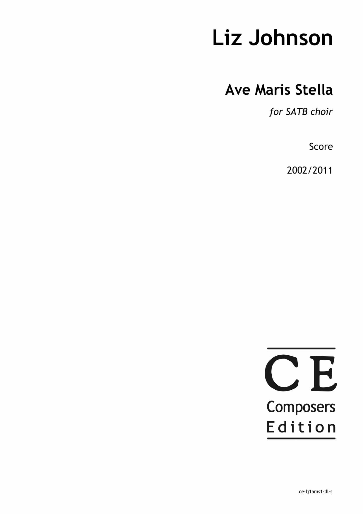 Liz Johnson: Ave Maris Stella for SATB choir