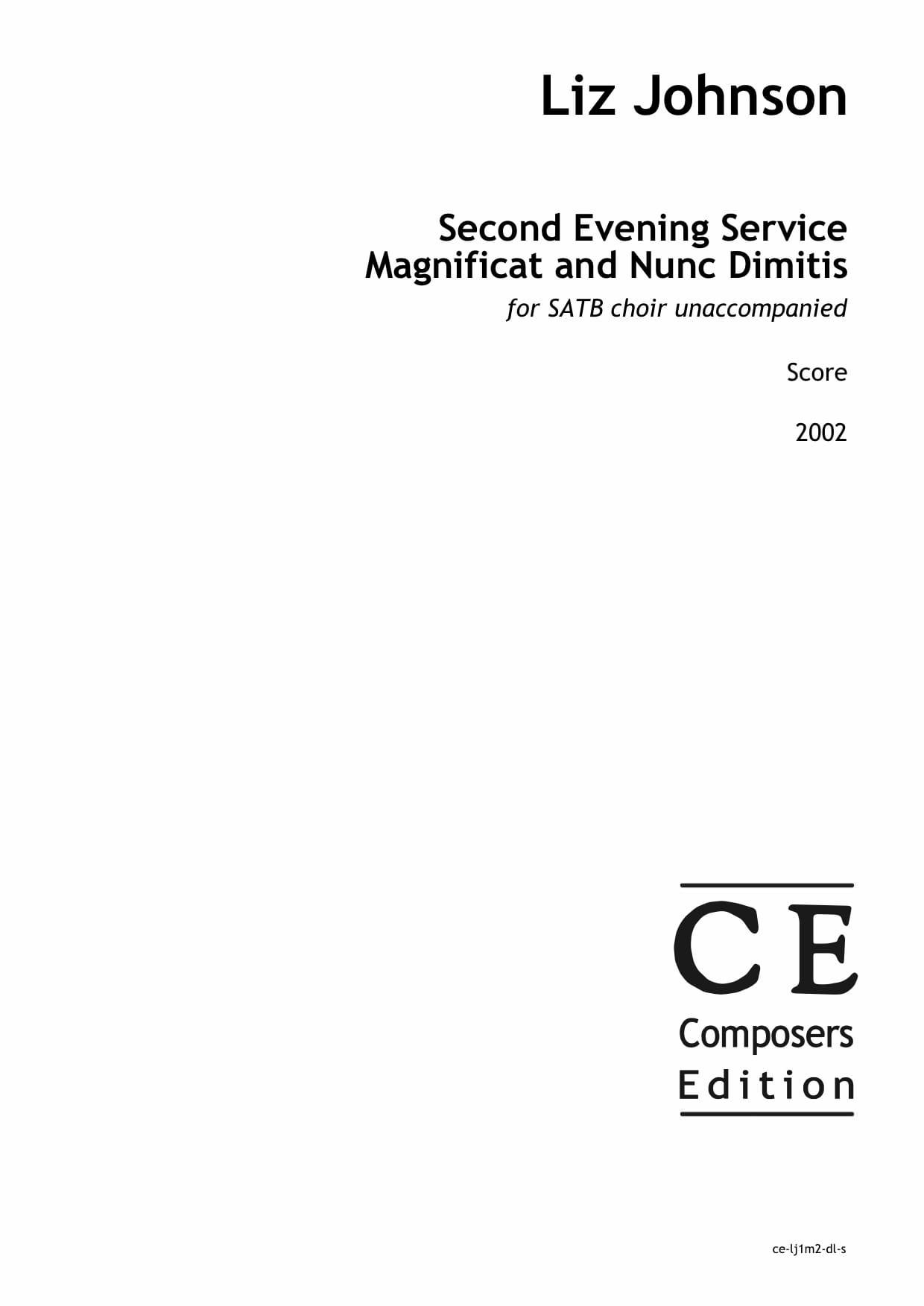 Liz Johnson: Second Evening Service Magnificat and Nunc Dimitis for SATB choir unaccompanied