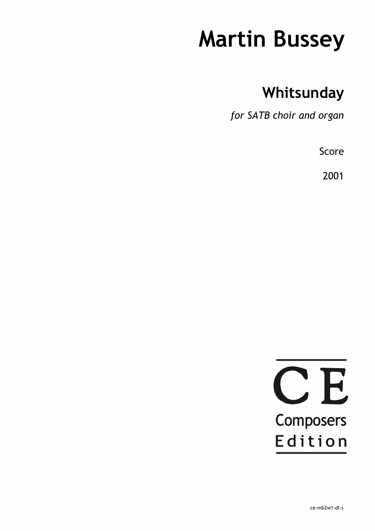 Martin Bussey: Whitsunday for SATB choir and organ