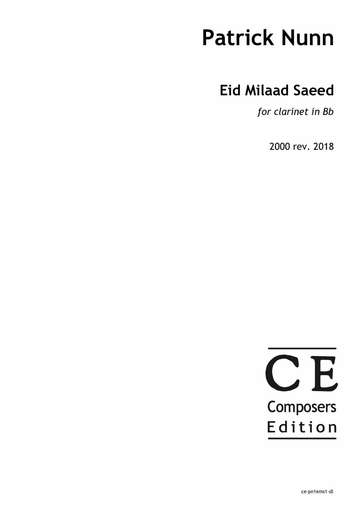 Patrick Nunn: Eid Milaad Saeed for clarinet in Bb