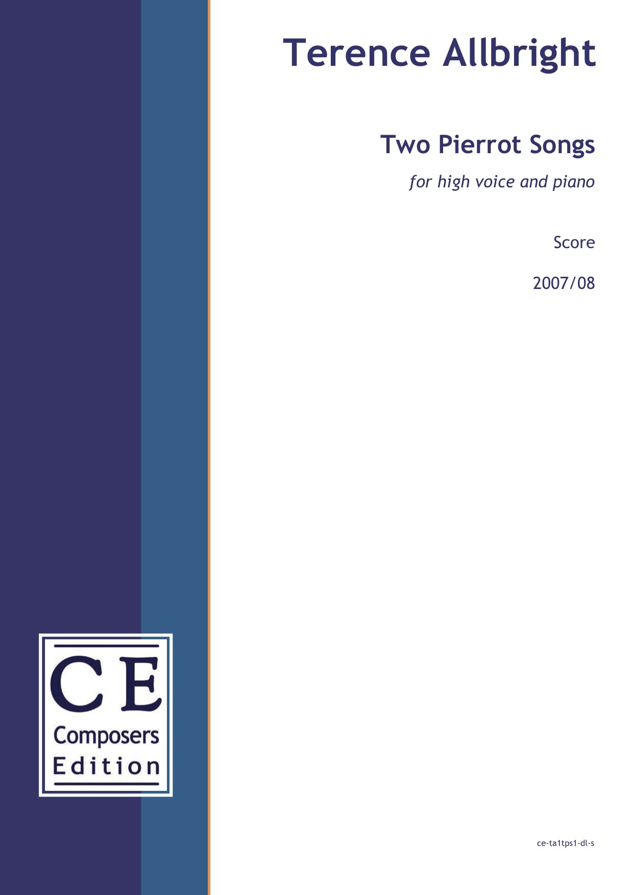 Terence Allbright: Two Pierrot Songs for high voice and piano
