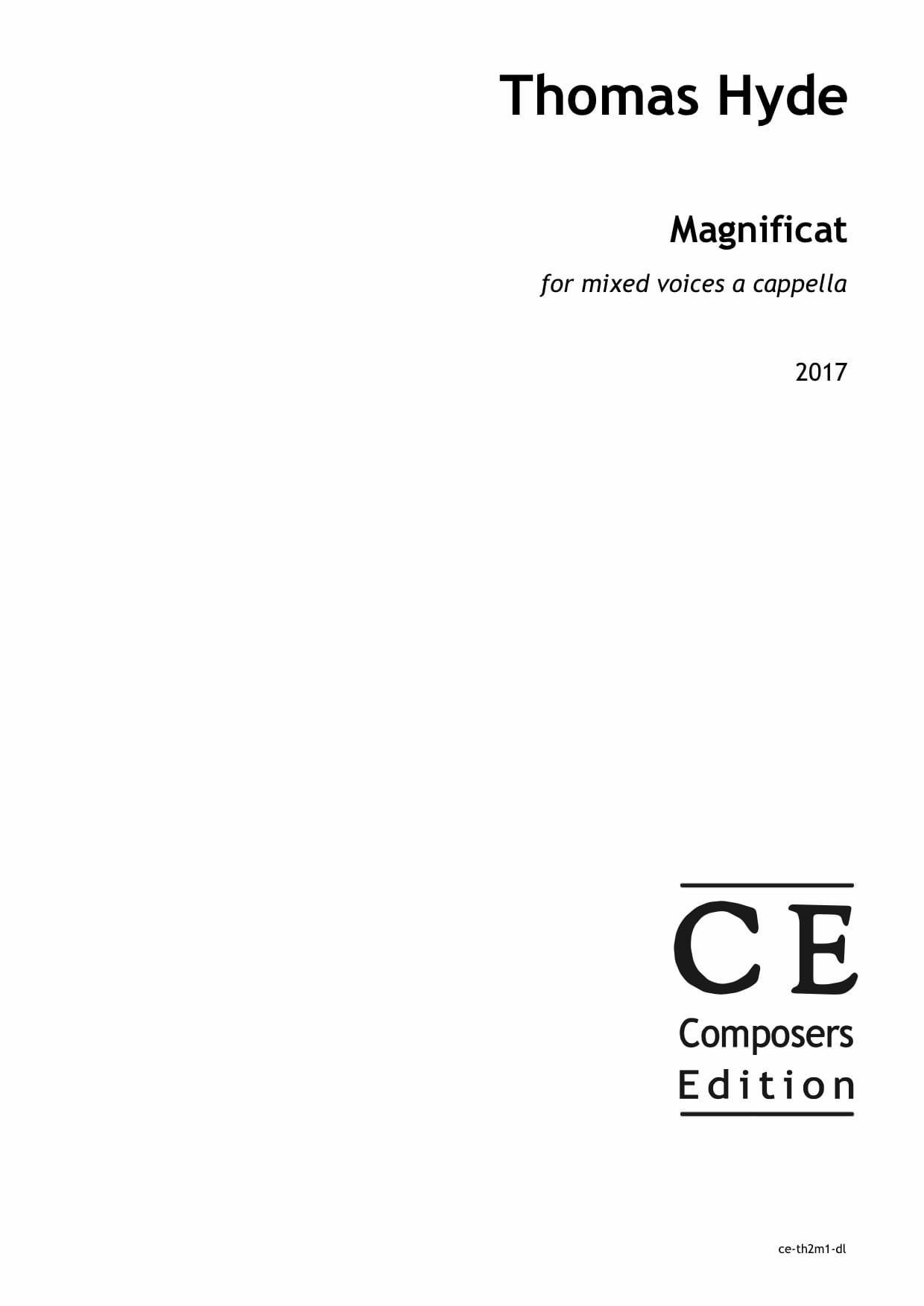 Thomas Hyde: Magnificat for mixed voices a cappella